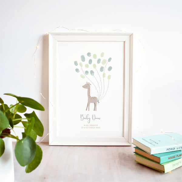 Giraffe Fingerprint Guest Book Baby Shower Print | Gender Neutral