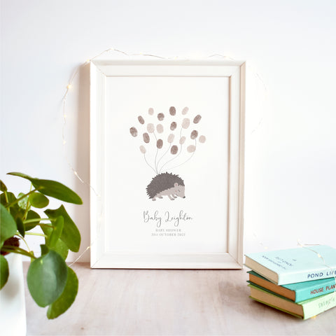 Hedgehog Fingerprint Guest Book Baby Shower Print | Gender Neutral