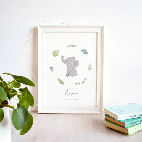Elephant Personalised Nursery Name Print