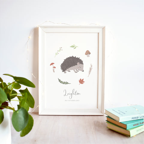 Hedgehog Personalised Nursery Name Print