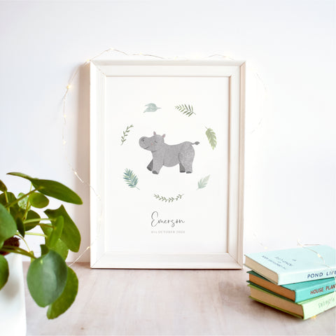 Hippo Personalised Nursery Name Print
