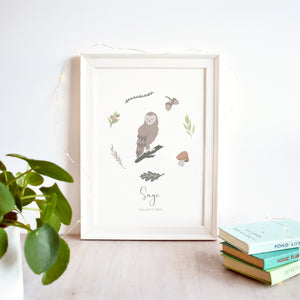 Owl Personalised Nursery Name Print