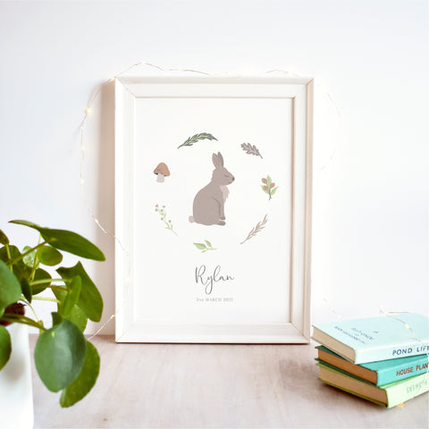 Rabbit Personalised Nursery Name Print