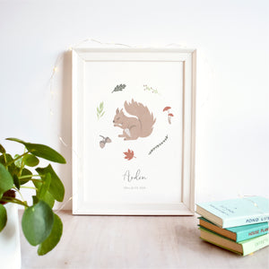 Squirrel Personalised Nursery Name Print
