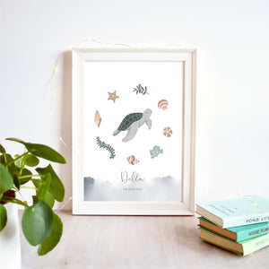 Turtle Personalised Nursery Name Print