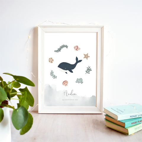 Whale Personalised Nursery Name Print