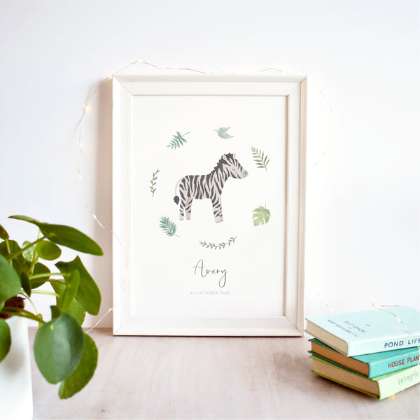 Zebra Personalised Nursery Name Print