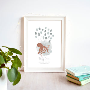 Octopus Fingerprint Guest Book Baby Shower Print | Gender Neutral