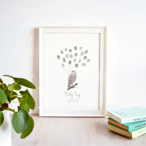 Owl Fingerprint Guest Book Baby Shower Print | Gender Neutral