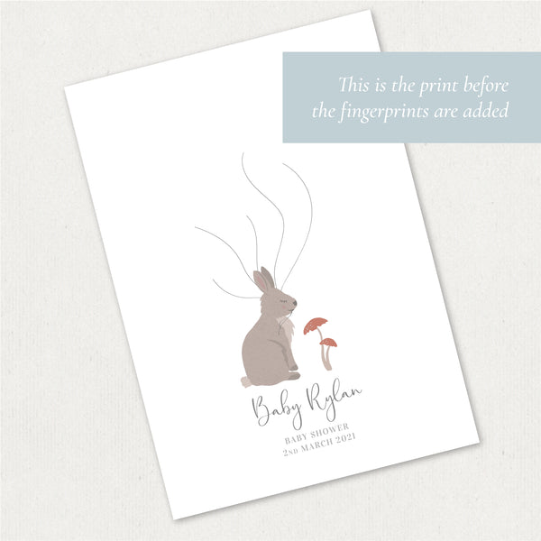 Rabbit Fingerprint Guest Book Baby Shower Print | Gender Neutral