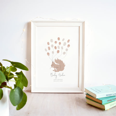 Squirrel Fingerprint Guest Book Baby Shower Print | Gender Neutral