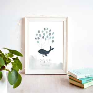 Whale Fingerprint Guest Book Baby Shower Print