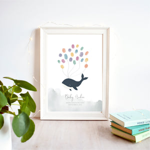 Whale Fingerprint Baby Shower Guest Book Print | DIGITAL