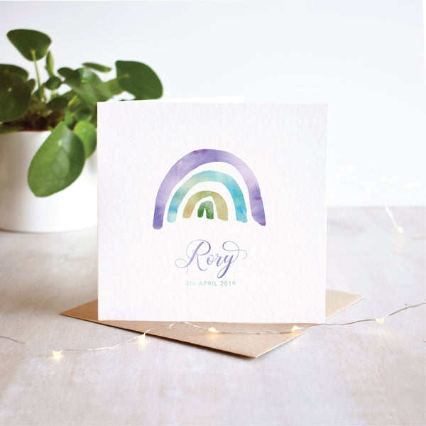 Personalised Rainbow New Baby Card | 4 Colour Options