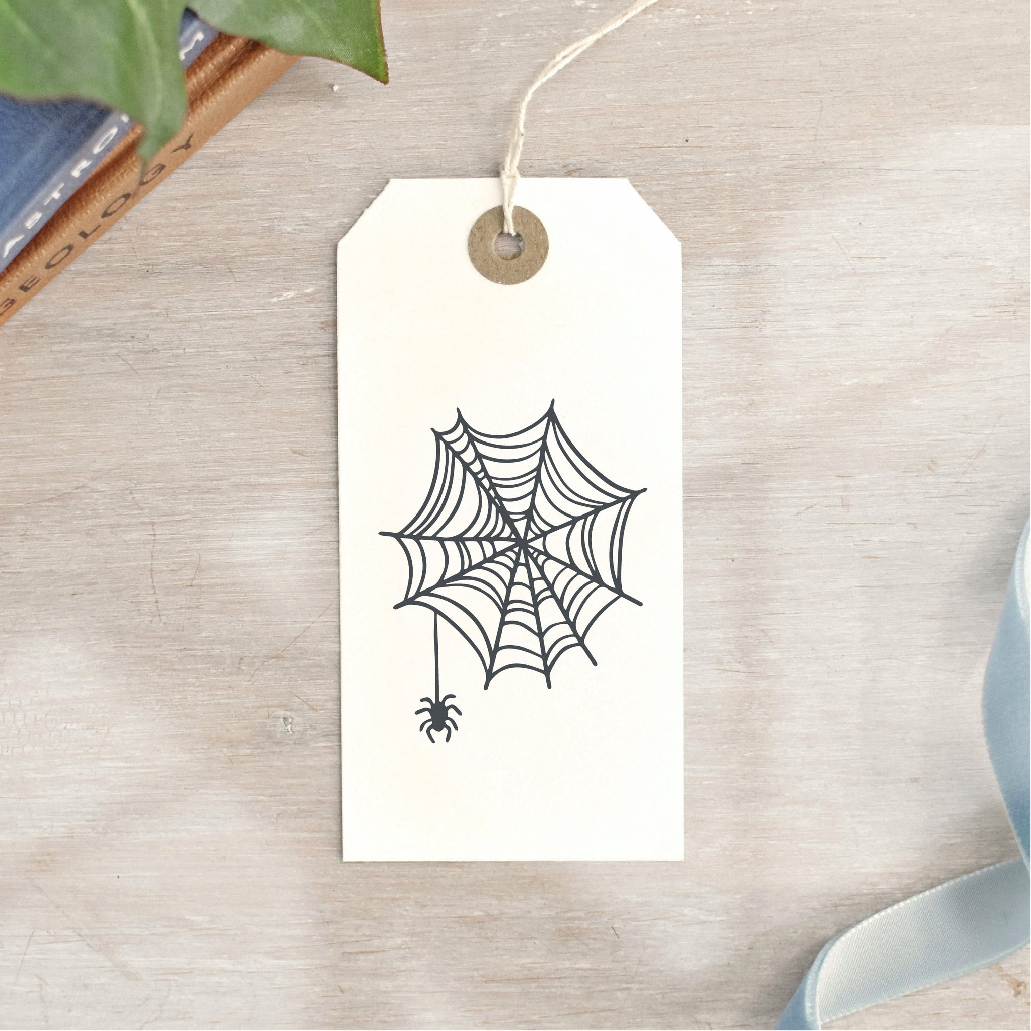 Cobweb and Spider Halloween Stamp