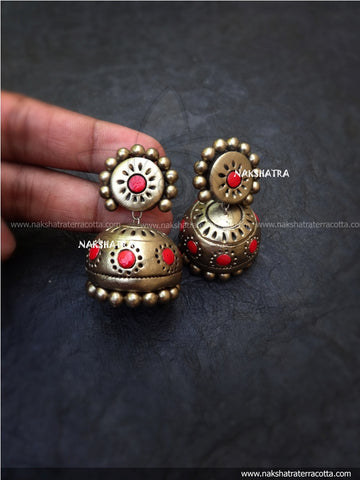 Gold and red dot jhumkas