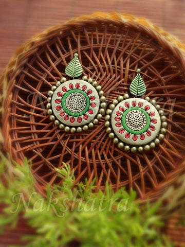 Terracotta antique gold earring