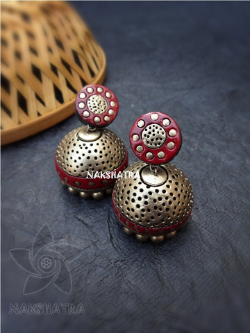 Golden dotted jhumkas