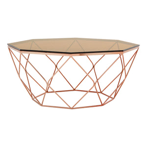 Allure Octagonal Coffee Table Rose Gold - Ezzo
