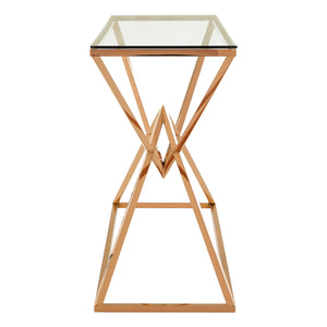 Allure Console Table Rose Gold with Glass Top - Ezzo