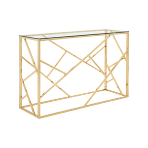 Allure Latticed Console Table Gold - Ezzo