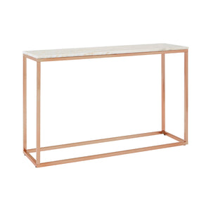 Allure Console Table Rose Gold and White Marble - Ezzo