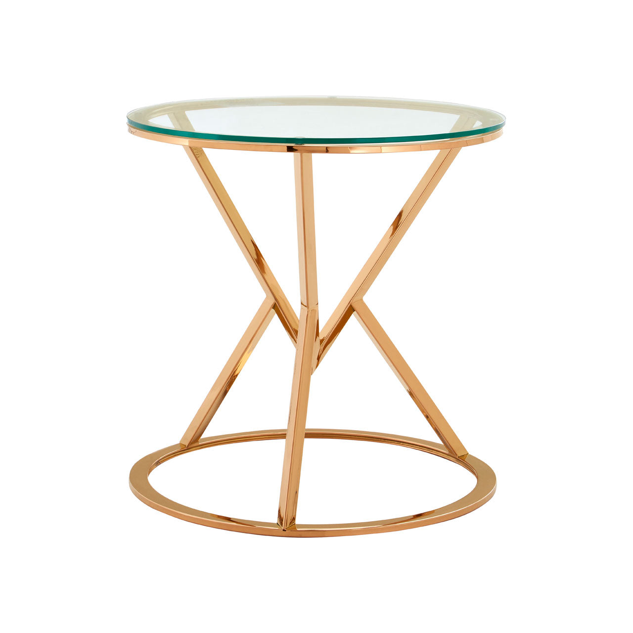 Allure End Table Rose Gold Round - Ezzo