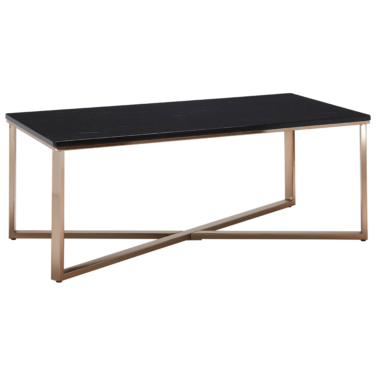 Allure Rectangular Coffee Table Champagne Gold with Black Marble - Ezzo