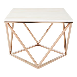 Allure Rectangular Coffee Table Champagne Gold with White Marble - Ezzo