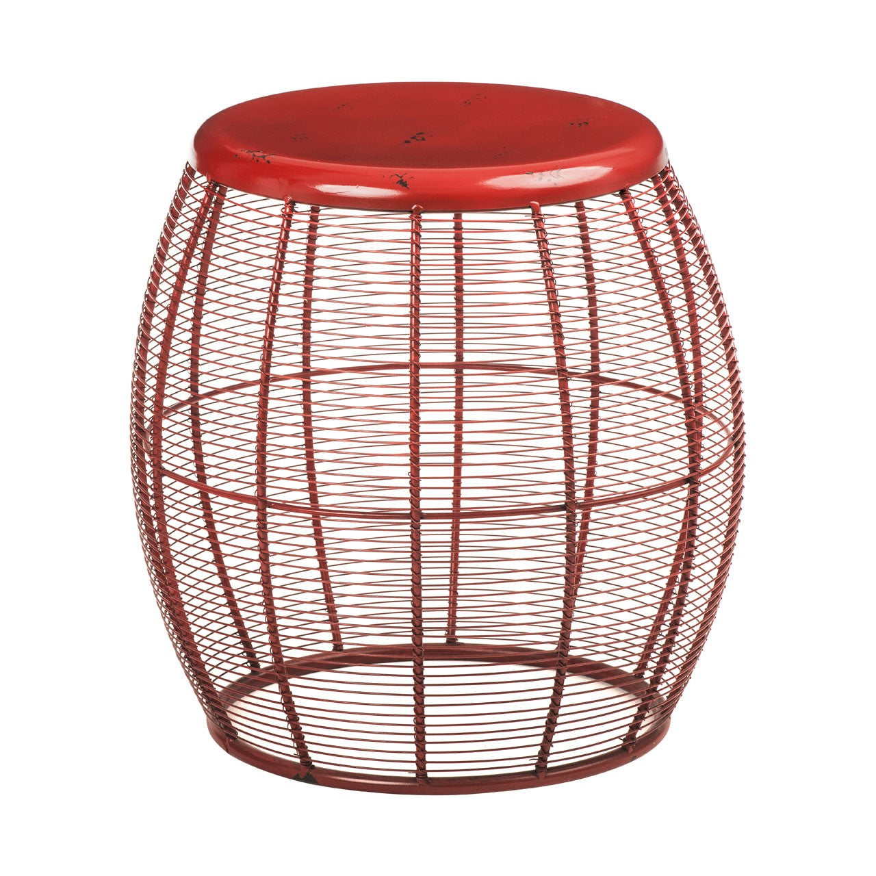 Artisan Wire Barrel Stool Red - Ezzo