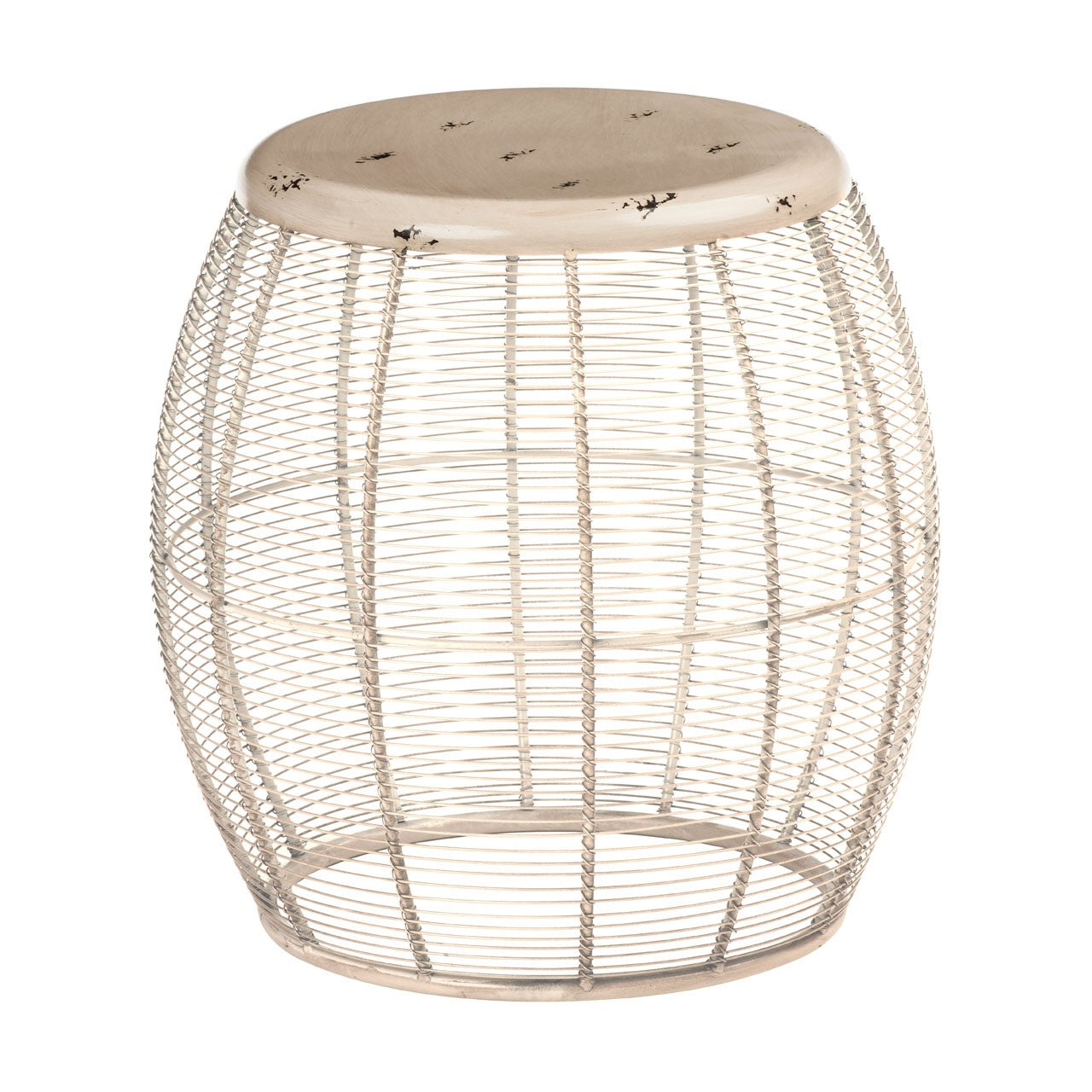 Artisan Wire Barrel Stool Cream - Ezzo