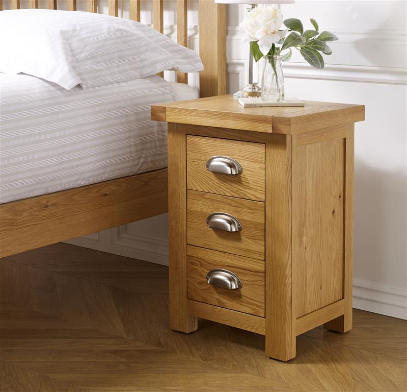 Aspley Small 3 Drawer Bedside Table - Ezzo