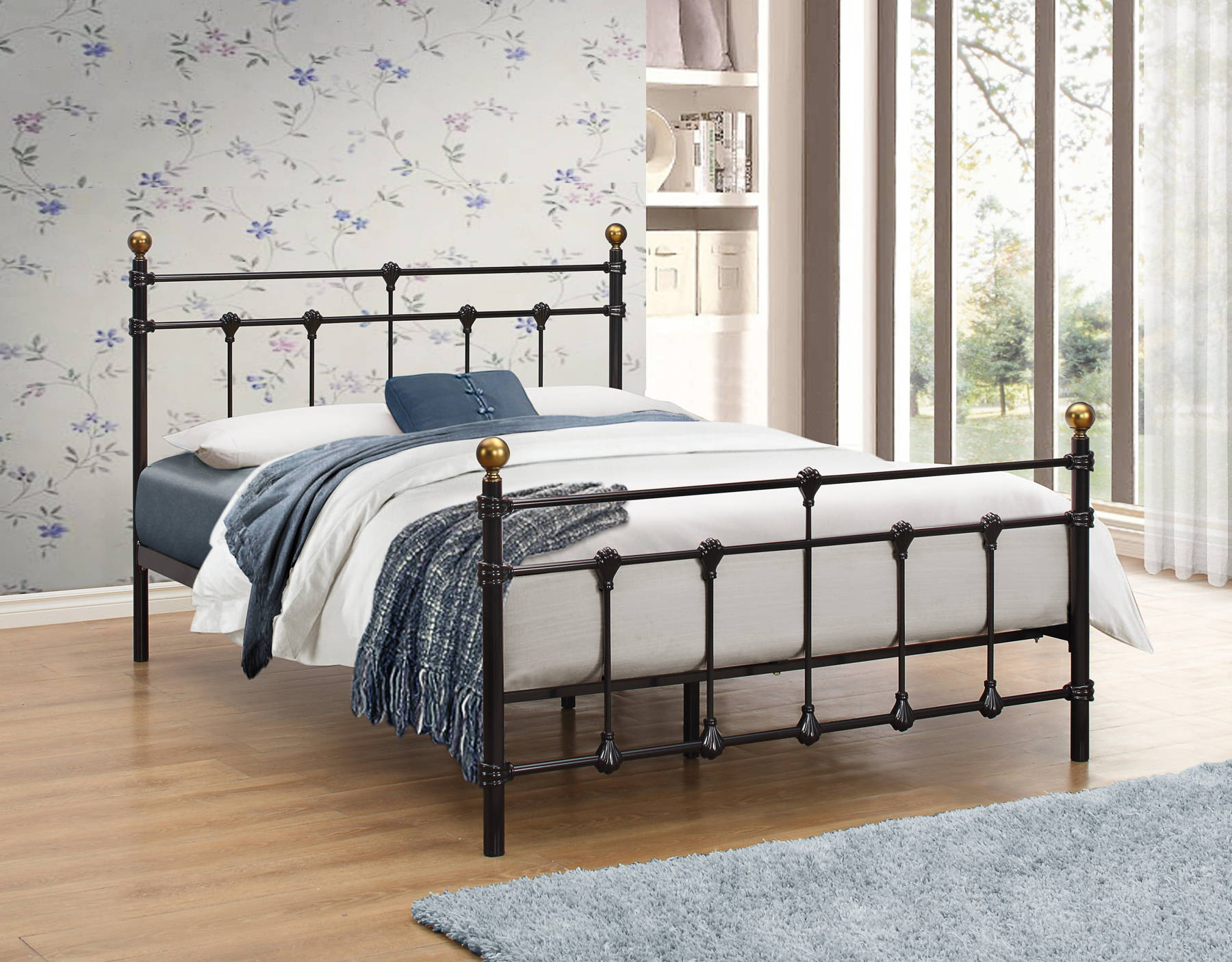 Globe Queen Size Bed in Black - Ezzo
