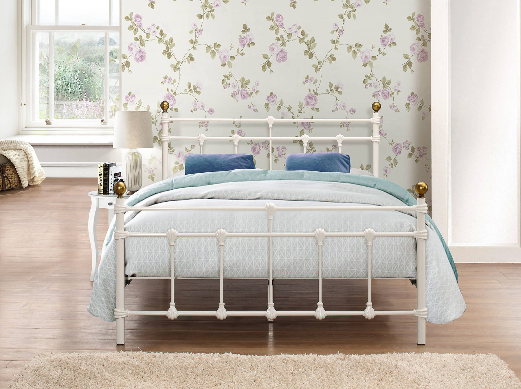 Globe Queen Size Bed in Cream - Ezzo