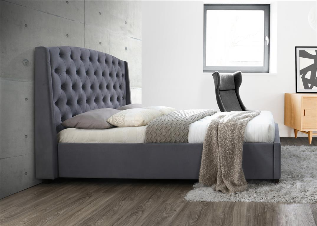 Stirling King Size Bed in Grey - Ezzo