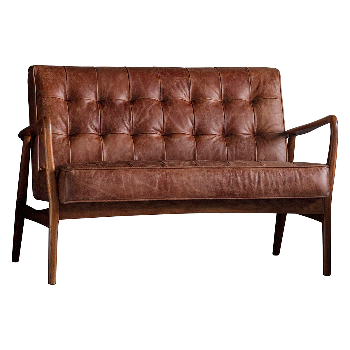 Barton 2 Seater Sofa Vintage Brown Leather - Ezzo