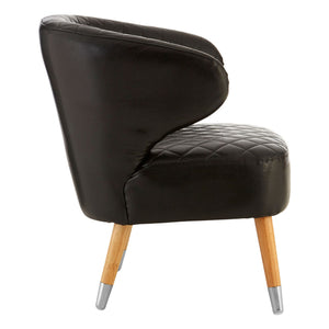 Black Faux Leather Wingback Armchair - Ezzo