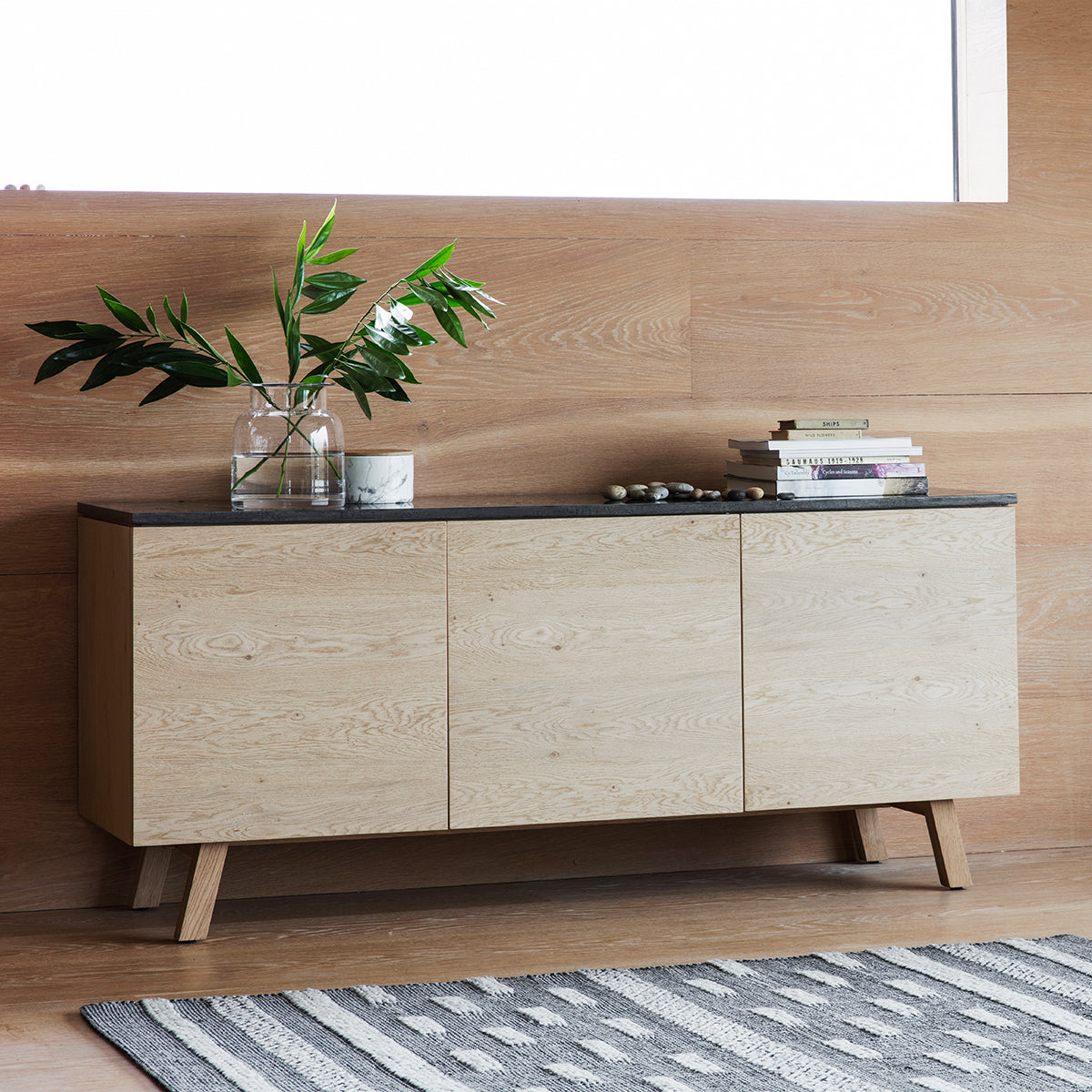 Brockwell Burnished 3 Door 1 Drawer Sideboard - Ezzo