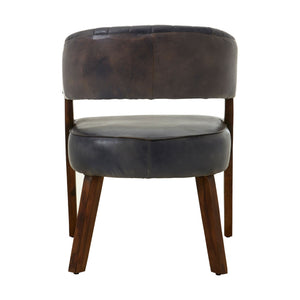 Buffalo Antique Brown Leather Wood Chair - Ezzo