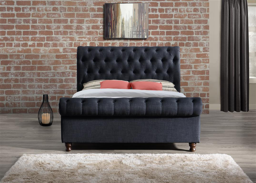 Venice King Size Bed in Charcoal - Ezzo