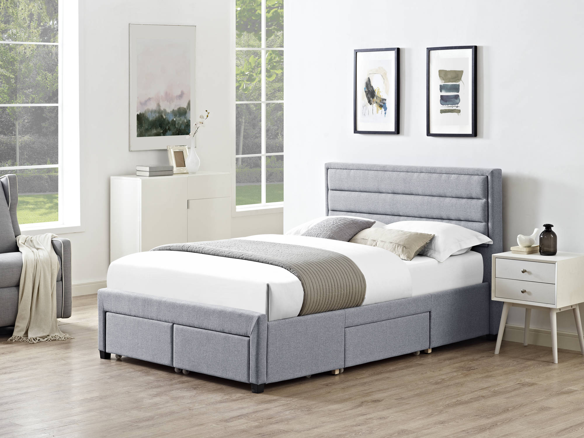 Charlton King Size Bed in Grey - Ezzo
