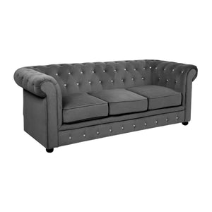 Chesterfield 3 Seat Sofa in Grey - Ezzo