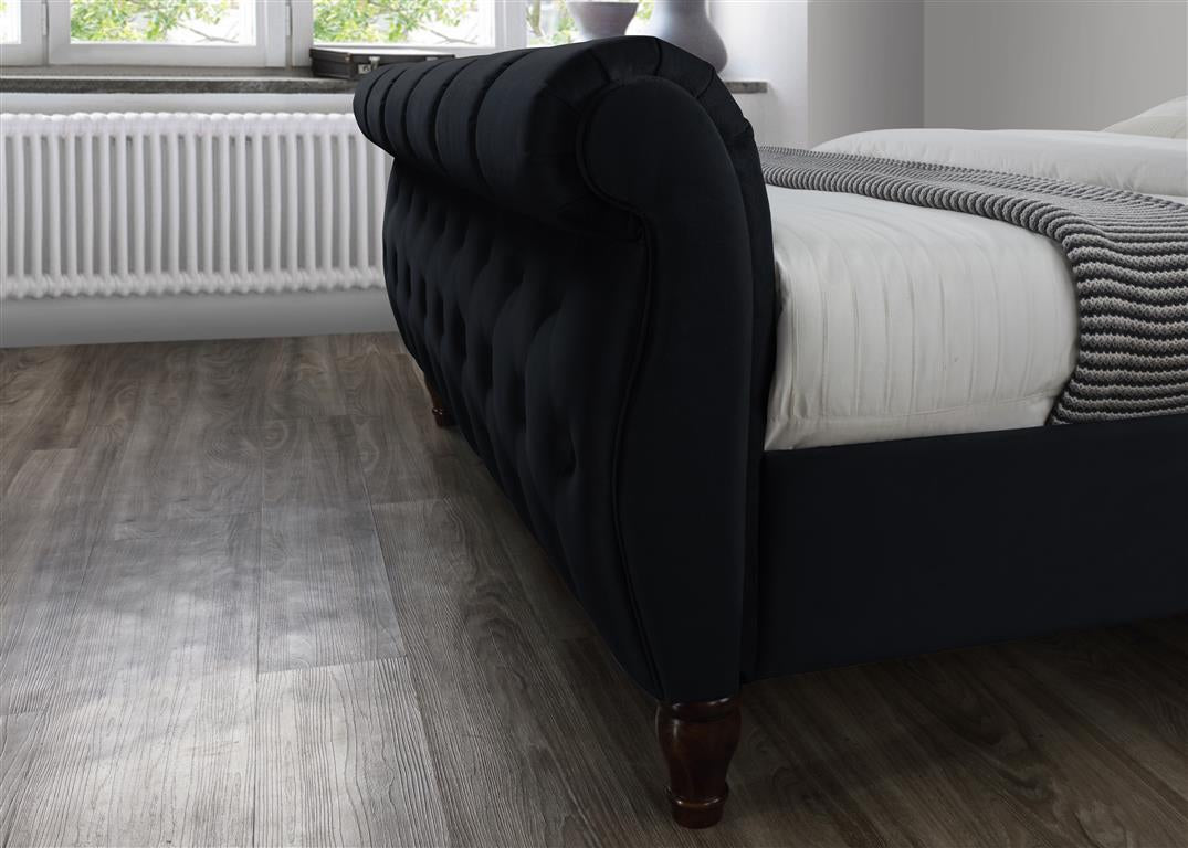 Aspen King Size Bed in Black - Ezzo