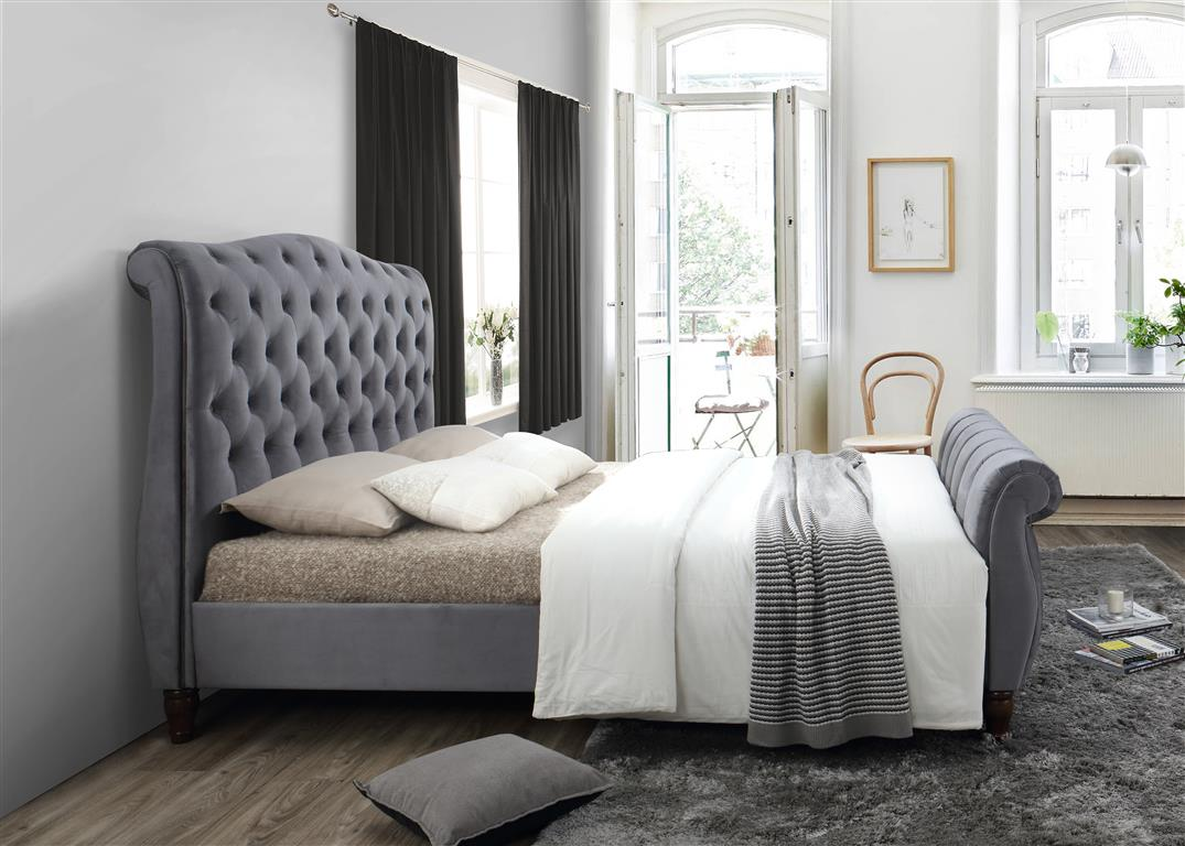 Aspen King Size Bed in Grey - Ezzo