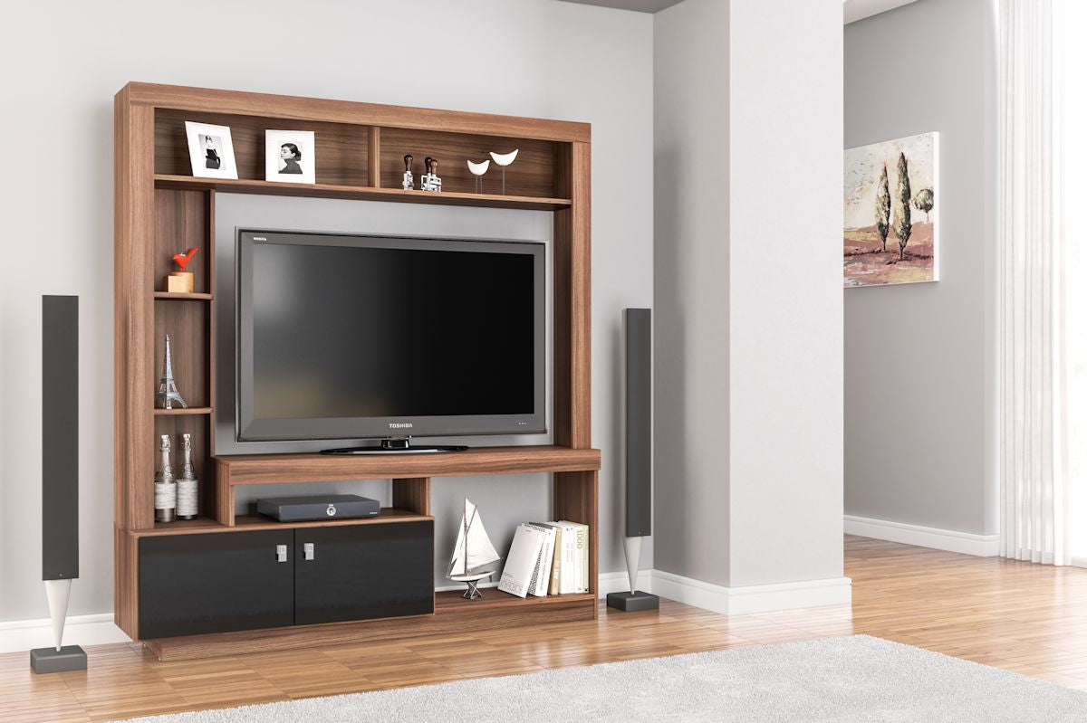 Cortez Entertainment Unit in Walnut and Black - Ezzo