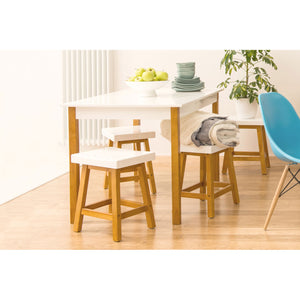 Dining Table and Stools in White - Ezzo