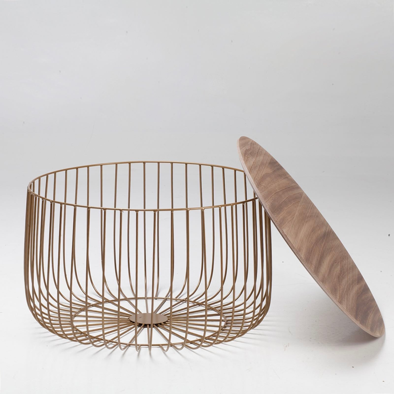 Elio Large Gold Cage Table - Ezzo