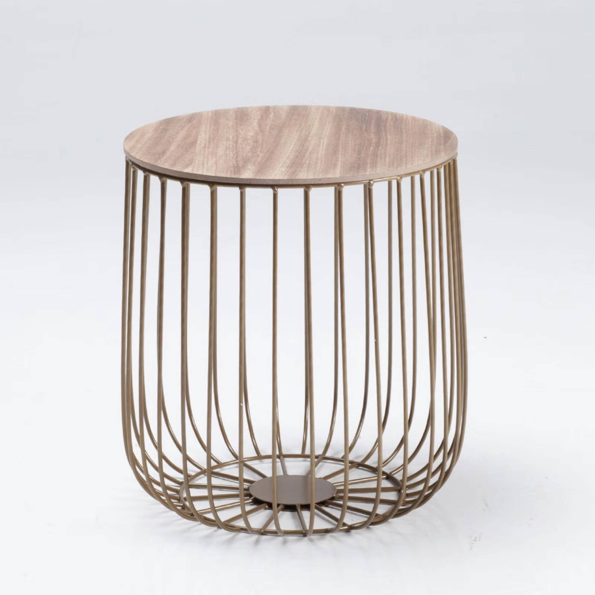 Elio Small Gold Cage Table - Ezzo