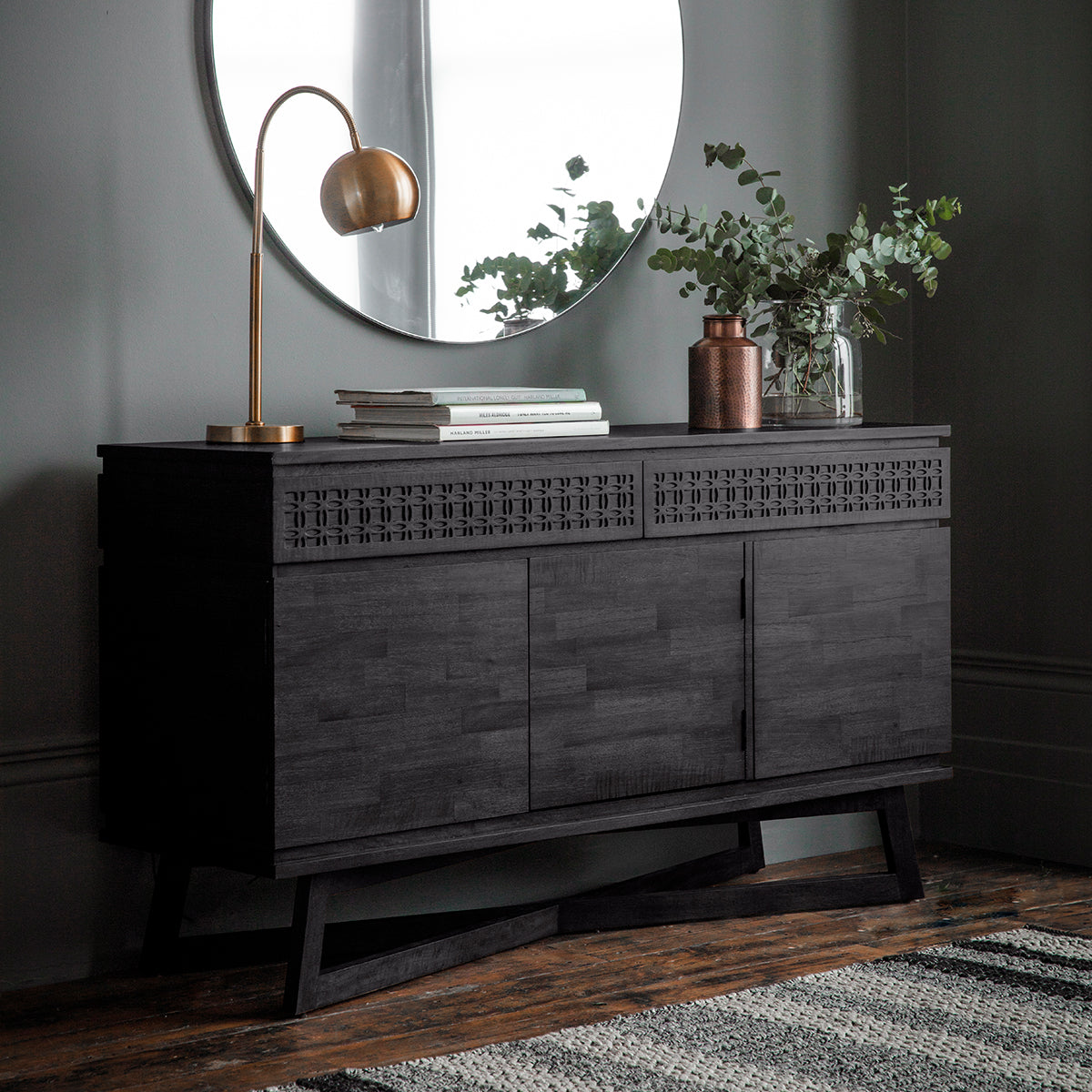 Greenwich 3 Door  2 Drawer Sideboard in Matt Charcoal - Ezzo