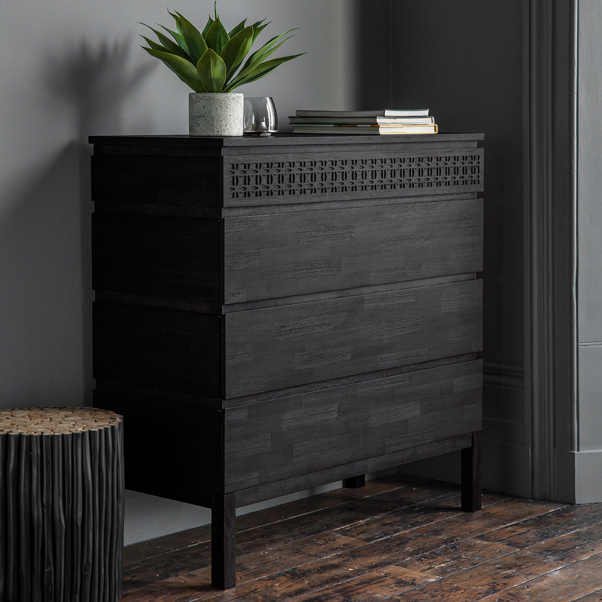 Greenwich 4 Drawer Chest in Matt Charcoal - Ezzo
